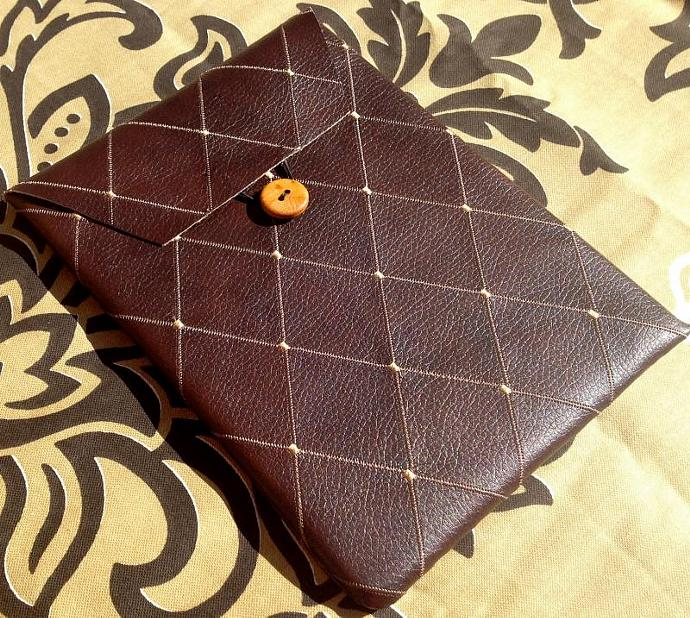 iPad Case - Brown Faux Leather Diamond Design