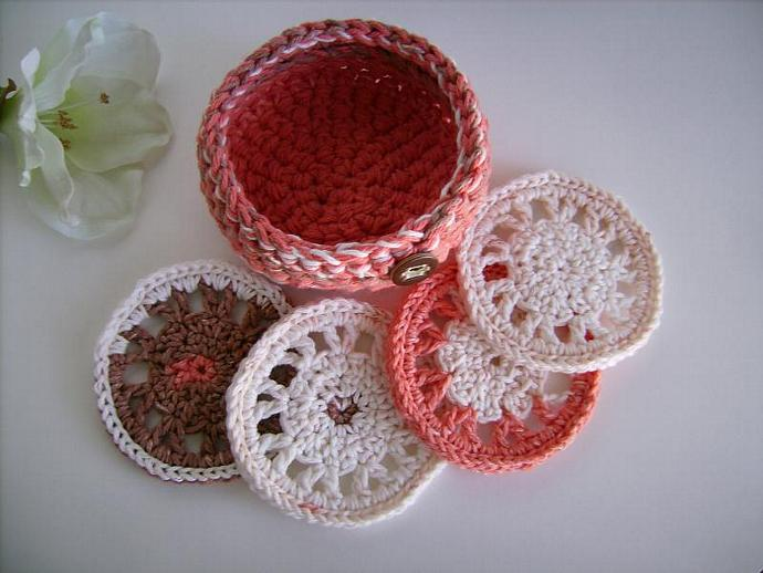 Crocheted Coaster and Bowl Set