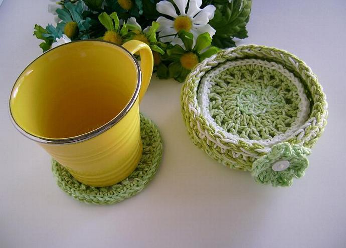 Custom Crochet Lime Green Coaster Set with Bowl