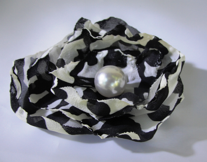 Black and White  Fabric Flower Accessory