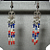 NEW Red, White, Blue Porcupine Quill Bead Earrings