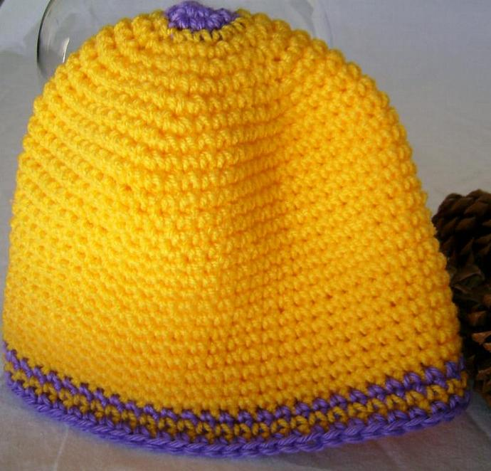 Crocheted Beanie in Gold and Purple