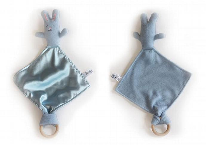 Blue Bunny Rabbit with All Natural Wood Maple Teething Ring Baby Security