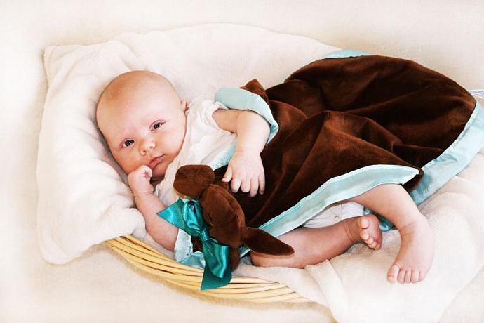 Brown Puppy Dog Lovey Blanket, Satin, Baby Blanket, Stuffed Animal, Baby Toy -