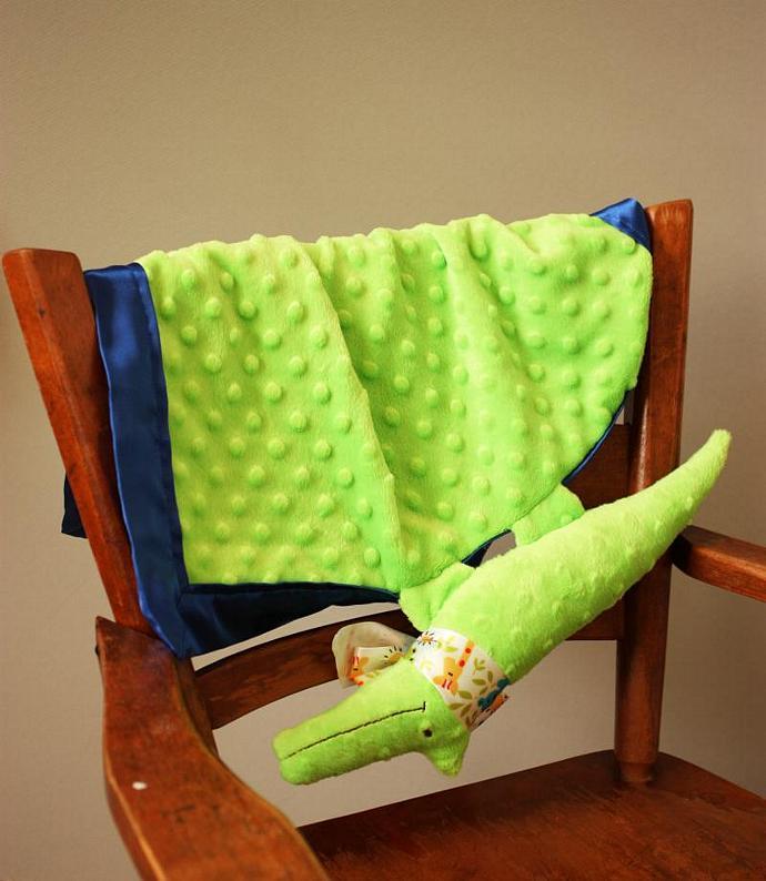 Green Alligator Lovey Blanket, Satin, Baby Blanket, Stuffed Animal, Baby Toy -
