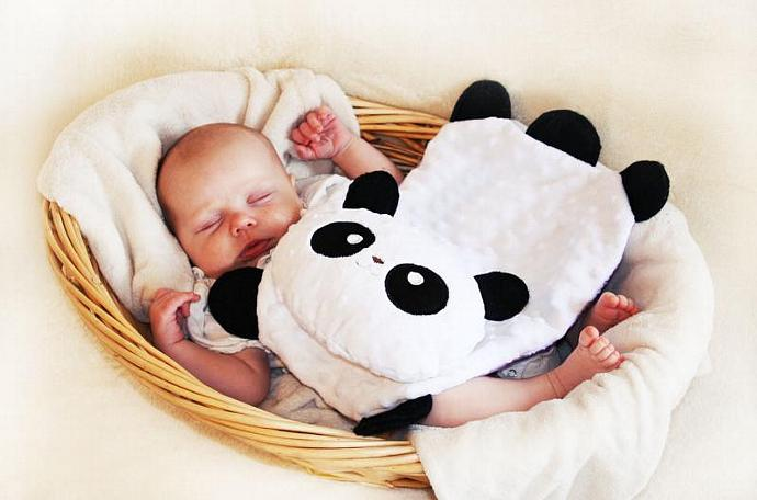 Minky Panda Bear Security Blanket, Lovey Blanket, Satin, Baby Blanket, Stuffed