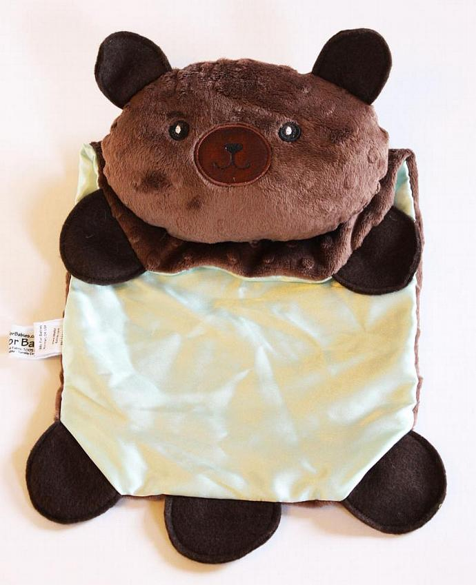 Minky Teddy Bear Security Blanket, Lovey Blanket, Satin, Baby Blanket, Stuffed