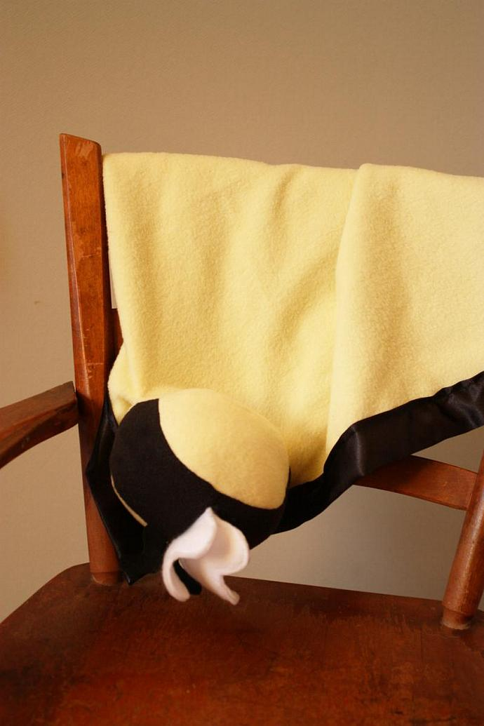 Bumble Bee Security Blanket, Lovey Blanket, Satin, Baby Blanket, Stuffed Animal,
