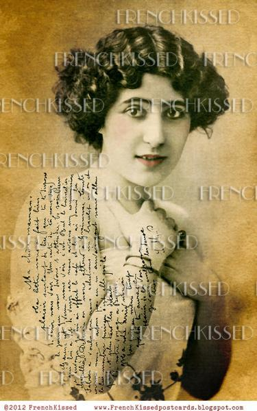 Digital Scan FRENCH Script on ARM Glamour Lady Antique postcard photo download 5