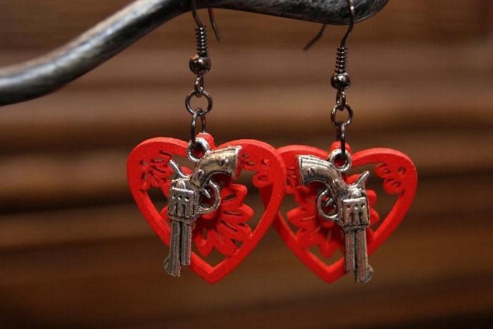 Love Guns - Wood Heart Charm - Silver Red