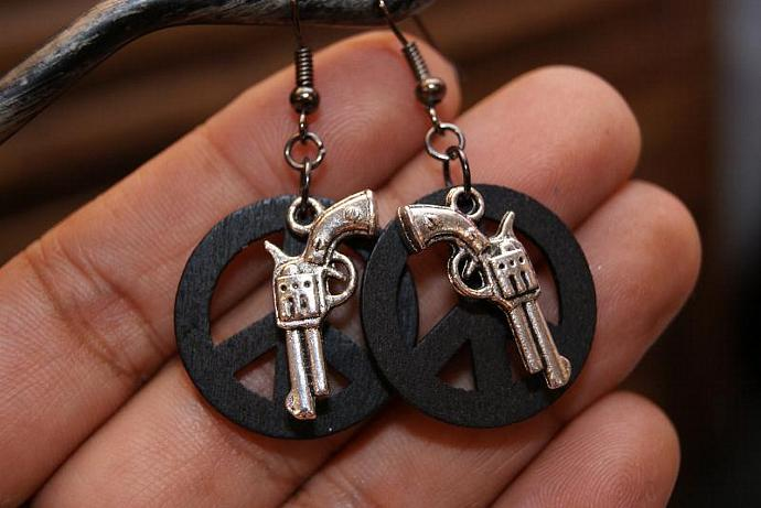 Peace Guns - Wood Peace Charm - Silver Black