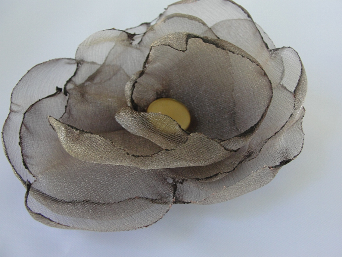 Taupe Organza Flower Accessory