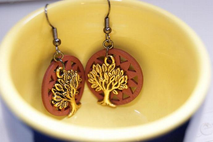 Tree of Life Earrings - Wood Sunburst Charm - Gold Brown