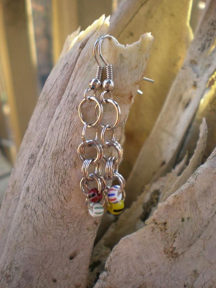 Beads & Jump Rings Earrings, earrings, jump rings, beads, stripes, dangle