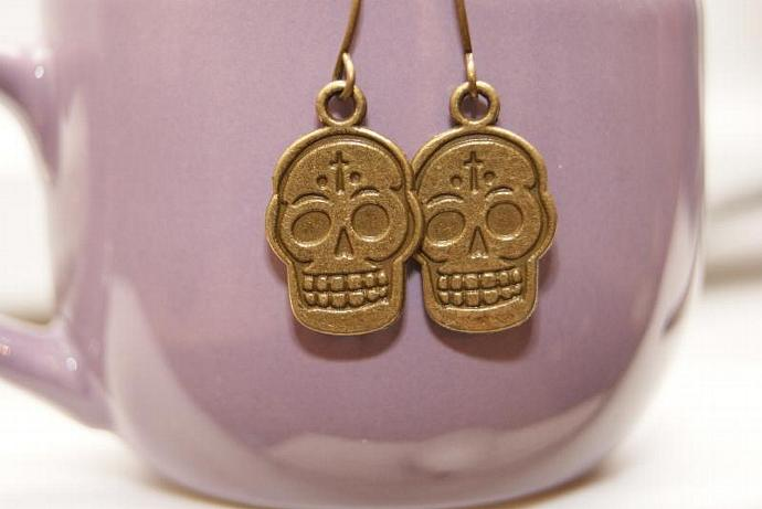 Bronze Skull Earrings - Charm Pendant
