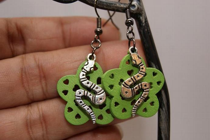 Snake Earrings - Wood Flower Charm - Silver Green