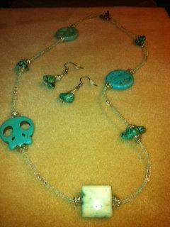 Beaded Faux Tourquoise Necklace and Earrings