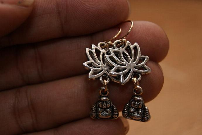 Buddha Lotus Earrings - Charm Pendant