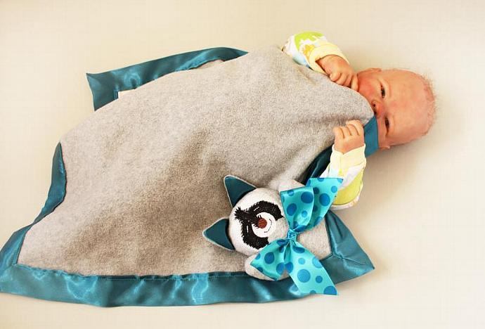 Raccoon Security Blanket, Lovey Blanket, Satin, Baby Blanket, Stuffed Animal,