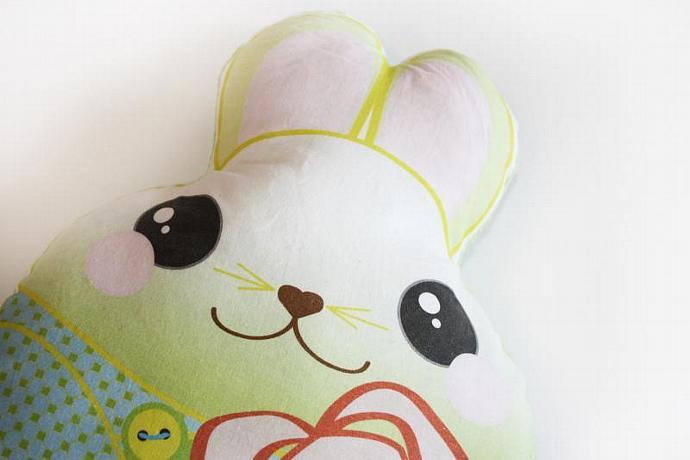 Green Bunny Rabbit, Baby Toy, Plush toy, Minky pillow, Stuffed animal, pillow