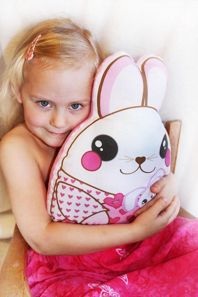 Pink Bunny Rabbit, Baby Toy, Plush toy, Minky pillow, Stuffed animal, pillow