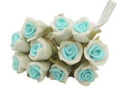 12 - 2-Tone Lt. Blue/White Paste (Porcelain) Rose Flower