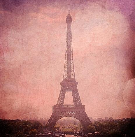 Eiffel Tower in Pink Champagne - Pink Eiffel Tower, Bokeh Paris, France Fine Art