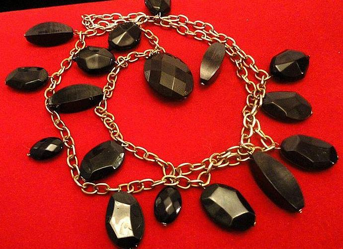 Reduced VINTAGE 70s  Necklace - Long brass Chain with faceted Black Glass Dangle