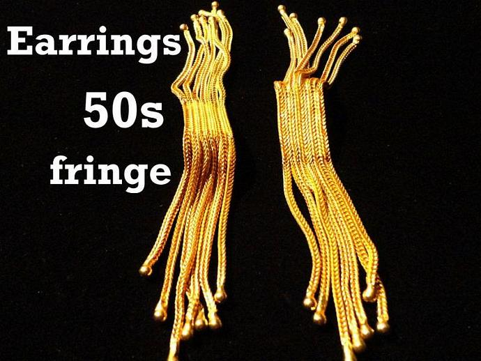VINTAGE 50s Gold tone Fringe Herringbone Chains clip on earrings