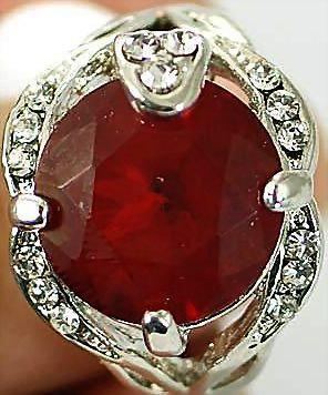 VINTAGE 70s Deco Inspired 18K White GP Lab Ruby and man made diamond/ Zircons