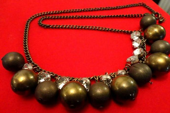 VINTAGE 50s 13mm Brass Beads with bezel set rhinestones Dangle Necklace