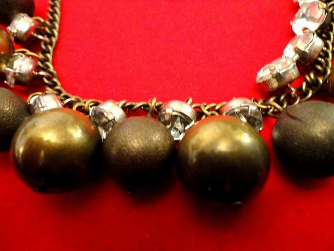 VINTAGE 50s 13mm Brass Beads with bezel set rhinestones Dangle Necklace