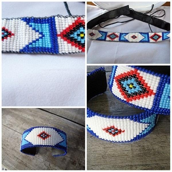 Billy Jack Pattern Hand Beaded Hatband AND 2 Cuff Bracelets
