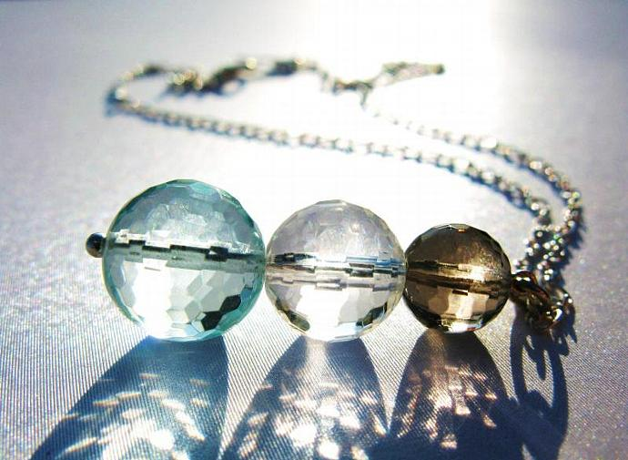 Multi Gemstone Necklace in Sterling Silver, (128) Micro Faceted Fluorite, Rock
