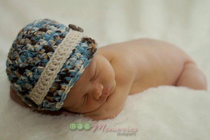 Newborn Baby Boy Newsboy Newsie Brimmed Beanie hat cap (ANY color - chart