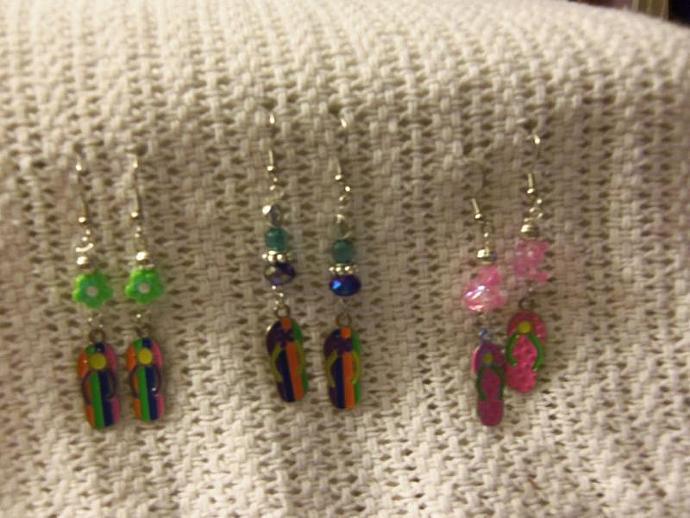 Beaded Earrings with Charm