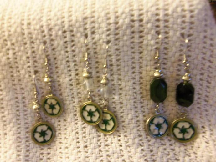 Beaded Earrings with Recycle Charm