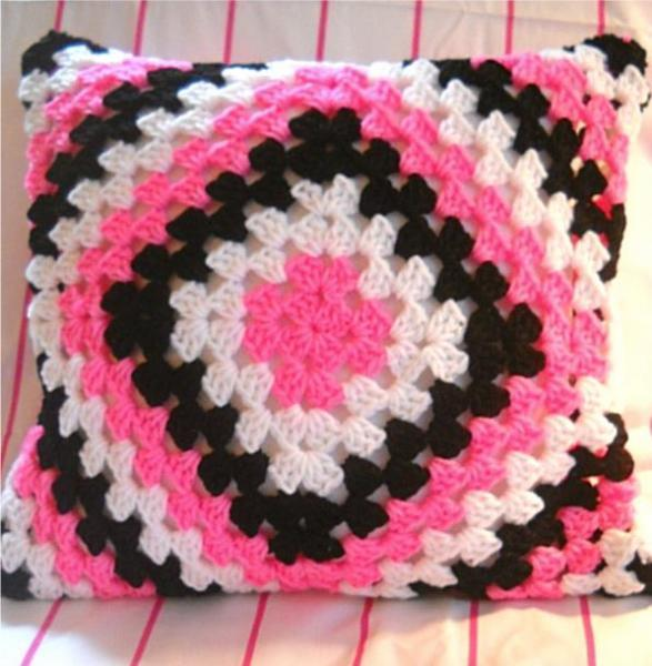 Pink, White & Black Crocheted Granny Square Pillow Cover
