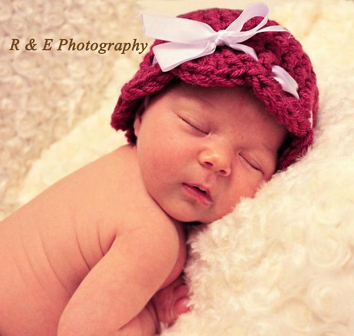Baby Girl Shell Trim hat in Dark Pink (or any color) with white ribbon