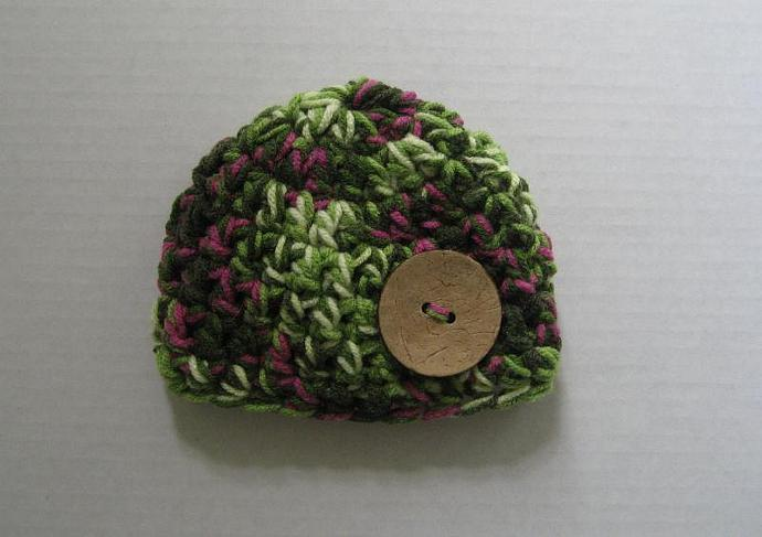 Greens and Purples beanie with Coconut Button