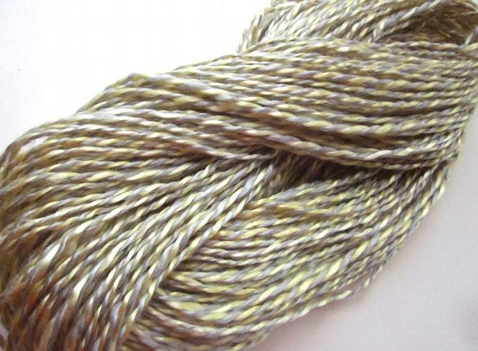 Vegan Handspun Yarn, Hand-dyed Silver & Gold 2-Ply