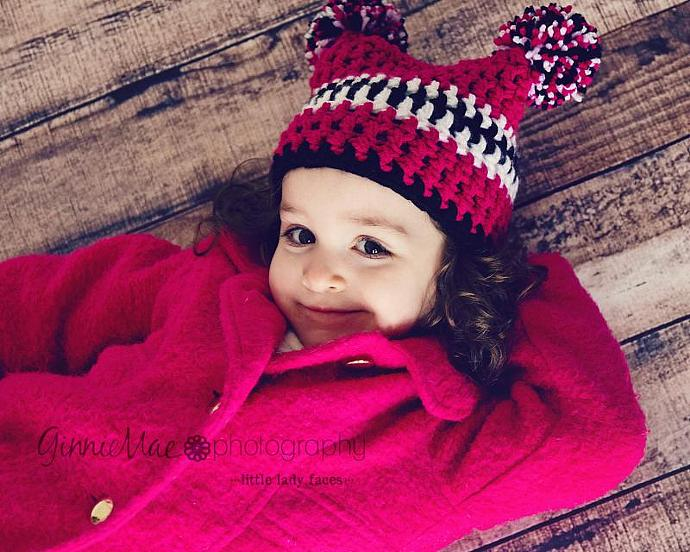 Toddler Pom-Pom jester sack hat beanie in shocking pink, black and white (or any