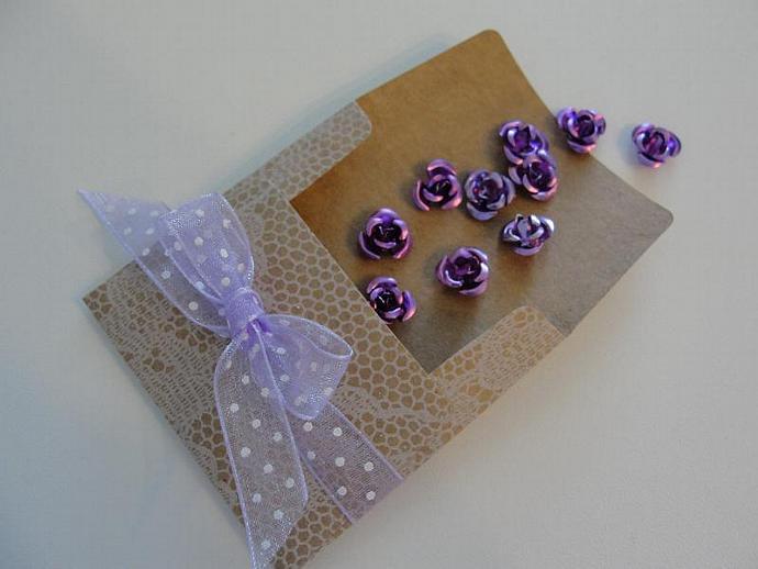 Purple Rose Aluminum Flowers in Vintage Envelope