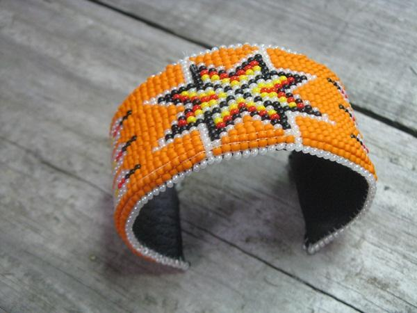 Native Style Hand Beaded Loomed Cuff  Bracelet