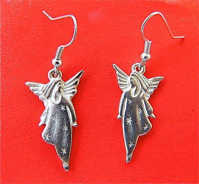 Matte  silver  tone  angels  earrings