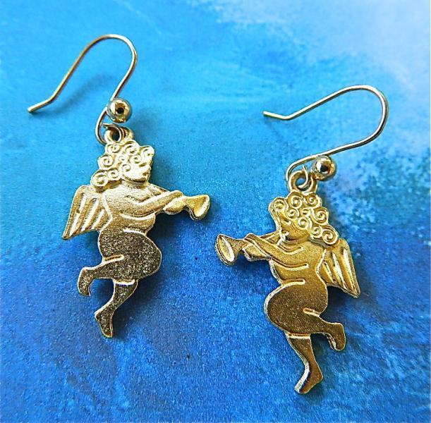 Gold  tone  cherubs  earrings