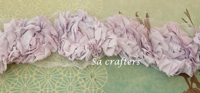 Light Purple Rosette  trim-18 flowers