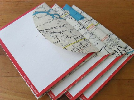 Recycled Map Stationery - 1954 North Central USA