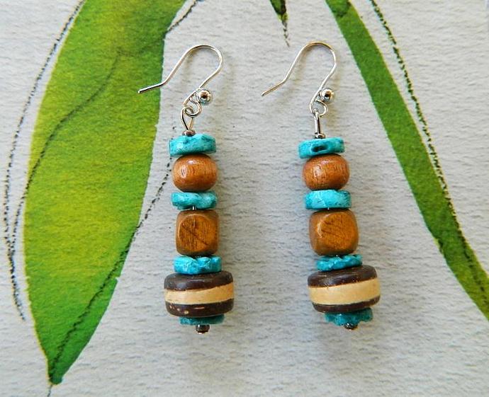 Shell  and  wood  dangle  earrings