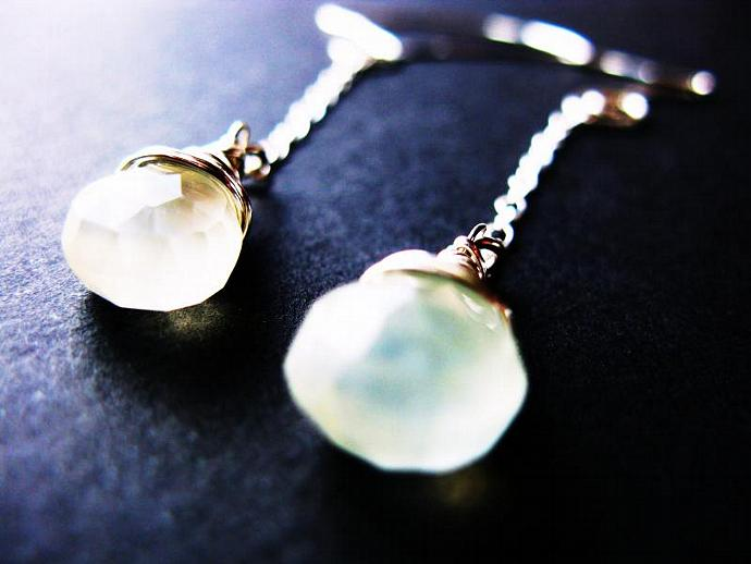 Glowing Yellow, Long Chalcedony Earrings Wire Wrapped in Sterling Silver,